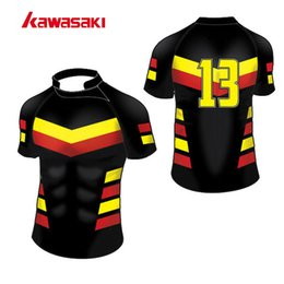 Wholesale Full Sublimation - Wholesale- 2017 Kawasaki Training Men & Women Rugby Jersey Top Sublimation Custom Practice Quick Dry Sprots Team wear Shorts