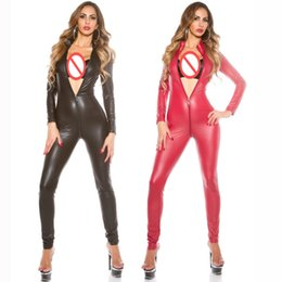 Wholesale tight party jumpsuits - High Quality Women Sexy Classic Jumpsuit Two Way Zipper Catsuit Tight Fitting Bodysuit For Cosplay Party