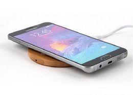 Wholesale Uk Bamboo - Wireless Charging Pad Universal Round Bamboo Wooden Wireless Charger Pad for iPhone Samsung Galaxy S7 S6 Note5 S6 Edge Nokia HTC LG Qi