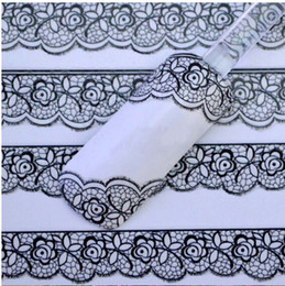 Wholesale Nail 3d Lace Design - Wholesale- Hot Selling New 3D Black Lace Flower Design Nail Art Stickers Decals For Nail Tips Decoration Tool Free Shipping