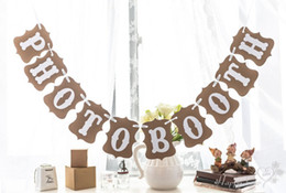 Wholesale Photobooth Photo - Wholesale- Wedding Decor Banners Bunting PHOTOBOOTH Photo Booth Wedding Props for Photo Accessories