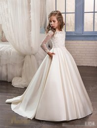 Wholesale Ivory Satin Flower Girl Dress - 2017 Vintage Flower Girl Dresses With Long Sleeves For Weddings Birthday Party Girl Pageant Gowns Dresses With Lace Appliques Satin