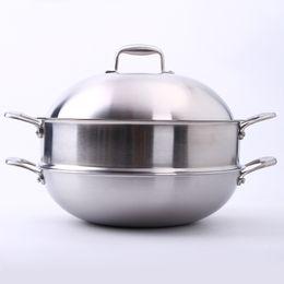 Wholesale Soup Pot Stainless Steel Steamer - 304 Stainless Steel Multipurpose double layer steamer stainless steel pot double boiler cooking pots pans soup cuiseur steamer pod