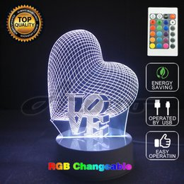 Wholesale Visual Lighting - 3D Visual Bulb Optical Illusion Colorful LED Table Lamp Touch Romantic Holiday Night Light One Love Heart Wedding Gifts