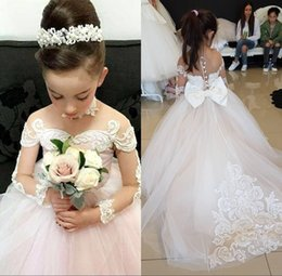 Wholesale Silver Blue Chokers - Lovely Sheer Long Sleeves First Communion Flower Girl Dresses Vintage Kids Formal Wear Gowns Appliqued with Choker Bow Sash Girls Pageant