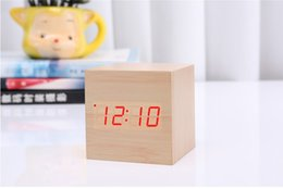 Wholesale Sound Activated Led Alarm Clock - Digital LED clocks DC 5V Activated Desktop Table Clocks Despertador Square Alarm Wood Wooden Clock Temperature Calendar Display Voice Sound