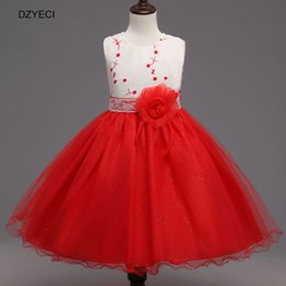 Wholesale Teenagers Girls Clothes - Summer Embroider Costume For Girl Dresses Deguisement Teenager Children Flower Bow Lace Princess Dress Kid Clothes 8 9 10 Year