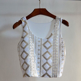 Wholesale Crop Blouse Wholesaler - New women tops and blouses fashion Shinning Sequined Bling Crop Top Tanks ,SB612