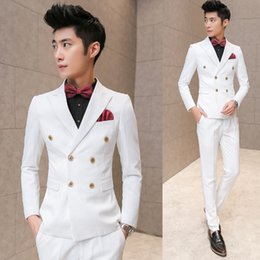 Wholesale Men Double Breasted Suits - Wholesale- 2016 jackets+vest+pants stylish men in business suits three-piece suit Male white joker slim fit Blazers quality groom's dress