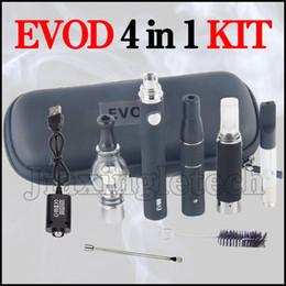 Wholesale Evod Metal - 4 in 1 Wax Vaporizer Kit CE3 Tank Vape Cartridges Dry Herb Chamber Dab Pen Kit Glass Globe Wax Oil Vapes Pen Evod MT3 Battery Starter Kits