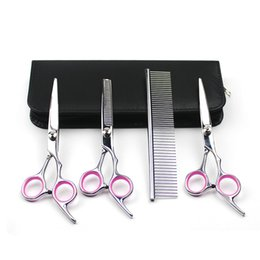 Wholesale Thinning Scissor Sets For Dogs - DHL EMS Dog Grooming Scissors Kits Curved Scissor Set Perfect for Pet Grooming Curved Tesoura Puppy Cat Hair Thinning Shears + Comb Tool