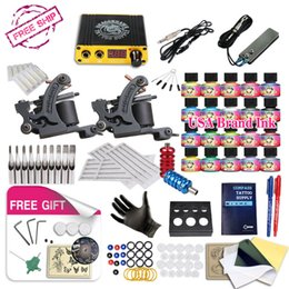 Wholesale Usa Tattoo Ink - Free Ship DIY 2 Tattoo Machine Complete Kit 20 Color USA Tattoo Inks Tattoo Power Supply With Free gift