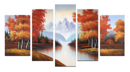 Wholesale Autumn Canvas Wall Art - Handmade Oil Painting Canvas Wall Art Decoration Autumn Landscape Painting Home Decor Wood Frame Inside to Hang