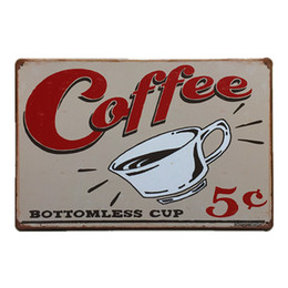 Wholesale Rustic Antique Decor - Coffee Bottomless Cup Vintage Rustic Nostalgic Home Decor Bar Pub Hotel Restaurant Coffee Shop home Decorative Metal Iron Retro Tin Sign