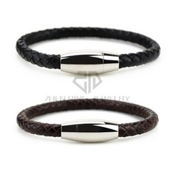 Wholesale Brown Leather Cord Bracelet - Genuine Leather Mens Bracelet Braided Cord with Durable Stainless Steel 6mm leather bracelet Magnetic Clasp(Black or Dark Brown Option)