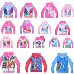Wholesale Kids Cartoon Coat Wholesale - Moana Hoodies cartoon boys girls Sweatshirts Spring Long Sleeve kids coats Trolls printing Outwear Zip Sweater Hooded KKA2406