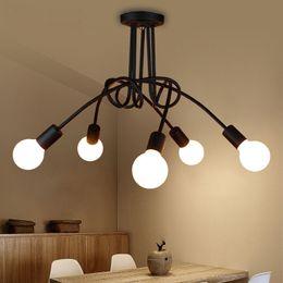 Vintage Industrial Loft Chandelier Lámpara de techo Lámpara interior simple Color negro / blanco desde fabricantes