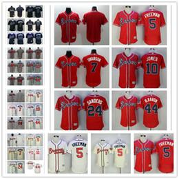 Wholesale Atlanta Baseball Jersey - Mens Flex Base Atlanta Braves #5 Freddie Freeman 7 Dansby Swanson 10 Chipper Jones 24 Deion Sanders Hank Aaron White Red Cream Jerseys