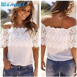 Wholesale Short Sleeve Crochet Top - Wholesale- CharmDemon 2016 Sexy Women Off Shoulder Casual Tops Lace Crochet Chiffon Shirt jy4