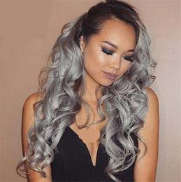 Wholesale Dark Grey Long Wig - 8A Grade Hair Wig Brazilian Glueless Full Lace Wigs #1b Grey Ombre Body Wave Human Hair Lace Front Wigs Black Women