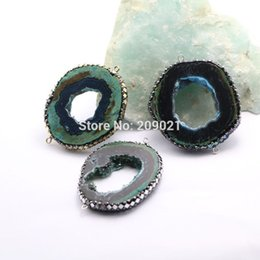 Wholesale Foil Beads - 5Pcs Nature Agate Geode Connector Beads, with Pave Crystal and Silver   Gold Foil   Abalone Shell Gem Stone Druzy Beads