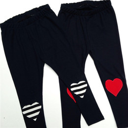 Wholesale Childrens Embroidered Clothing - 2017 Boys Girls Baby Childrens Leggings Striped Love Embroidered Pants Toddler Clothing Home Kids Clothes Trousers Boutique Clothes