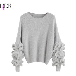 Wholesale Fuzzy Sweaters - Wholesale- DIDK Women's Tops and Sweaters Winter Clothes Women Drop Shoulder Long Sleeve Ruffle Trim Fuzzy Pullovers Sweater