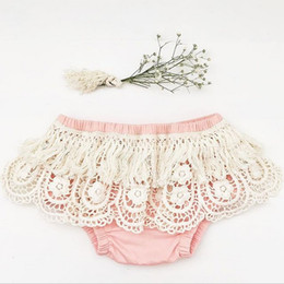 Wholesale toddler bloomer shorts - Lace Baby Girls Shorts New Summer Lace Tassel crochet falbala Infant Underwear Hollow Fashion Toddler PP Shorts Kids Cotton Bloomers C1321