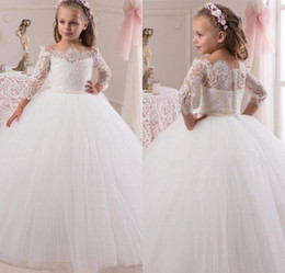 Wholesale Lace Flower Girl Dresses China - New Arrival Princess White Lace Flower Girls Dress For Wedding Long Sleeve Custom 2017 China Made Girls Formal Holly Communion Dress Party