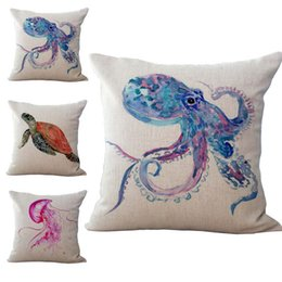 Wholesale Wholesale Jellyfish - Marine Life Animal Octopus Jellyfish Seahorse Pillow Case Cushion cover Linen Cotton Throw Pillowcases sofa Bed Car Decorative Pillowcover