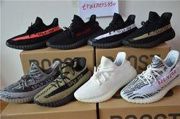 Wholesale Original Sneakers Box - With Original box SPLY 350 Boost V2 all With Box 2016 Black Grey Orange Running Shoes Sneakers 350 Boost V2 woman man shoes us-13