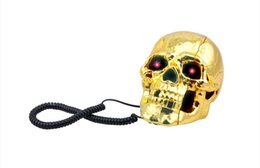 Wholesale Skull Shape Telephone - Wholesale-Free shipping 1Piece Hot Selling (Gold)Fearful Skull Shape Novelty Telephone Skull Flashing Phone Skull Phone