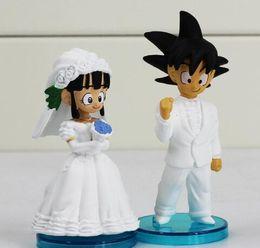 Wholesale Dragon Ball Son Goku - HOT Anime DRAGON BALL Son Goku ChiChi Wedding scene WCF DWC7 PVC Dolls Toys Action Figure Free shipping