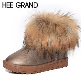 Wholesale Thick Fur Boots - Wholesale-HEE GRAND Brand Women's Shoes Thick Fur Fashion Snow Boots 2016 New Winter Cotton Warm Shoes For Women Ankle Boots XWX3265