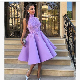 Wholesale Tea Length Puffy Dress Lace - New 2017 High Jewel Neck Puffy Party Dresses Knee-length Lavender with Appliques Saudi Arabic Lady Prom Dresses Cocktail Evening Gown