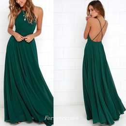 light ivory colour Promo Codes - Sexy Dark Green Colour Spaghetti Strap Prom Dress High Quality Backless Chiffon Women Wear Party Gown Custom Made Plus Size