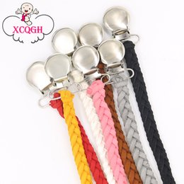 Wholesale Braiding Clip - Leather Pacifier Clips Chain Dummy Clip Pacifier Holder Braided Binky Clip Nipple Holder Soother Chain For Infant Baby Feeding