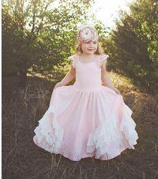 Wholesale Simple Flower Dresses Kids - Flower Girls Dresses For Weddings Cap Sleeves 2017 Simple Short Sleeves Floor Length A Line First Communion Dresses Kids Formal Wear