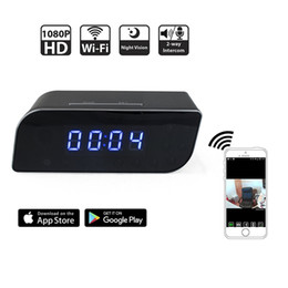 Wholesale Covert Cams Audio - HD 1080P Clock WIFI Hidden Camera Covert Nanny Cam Wireless P2P IP Security Cameras Support IOS Android PC iPad Video and Audio Recorder