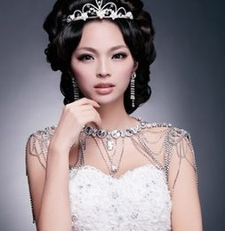 Wholesale Shoulder Chain Accessories - Elegant Necklace Fast Online Shipping Elegant Shoulder Chain and Earrings Bridal Jewels Stock Tiara Sliver For Girls Wedding Accessories