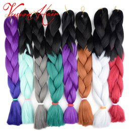Two Color Ombre Kanekalon Synthetic Braiding Jumbo Braid Hair Extensions 24 Inch 100g pack Xpression Braiding Hair Crochet Box Braids Coupon