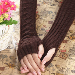 Wholesale Acrylic Keyboard - Wholesale- 2016 New Gloves Winter Autumn Warm Hollow Out Gloves Winter Keyboard Leak Finger Knitted Long Gloves Women Mittens Hand Warmer