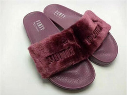 Wholesale fabric appliques - Hot Rihanna Leadcat Fenty Faux Fur Slide Sandal,Women Classical Fenty Slippers Black Slide Sandals Fenty Slides Red Yellow Purple Blue