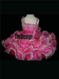 Wholesale Girls Ball Gown Tone - 2017 Cute Festival Organza Mini Flower Girls Dresses Ball GownTWO TONED TODDLER Beads Little Kids Pageant Dresses
