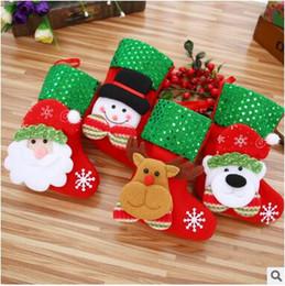 Wholesale Hanging Christmas Santa - Wholesale Christmas Decorations Stocking Santa Claus Deer Snowman Socks High Quality Can Hang Christmas Stocking Santa Tree Decoration