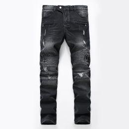 Wholesale Cotton Biker - Hots Men Distressed Ripped Jeans Fashion Designer Straight Motorcycle Biker Causal Denim Pants Streetwear Style Runway Rock Star Jeans Cool