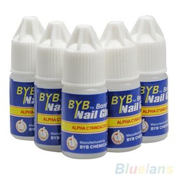 Wholesale Byb Nail Glue 3g - Wholesale- Pro 5 Pcs BYB 3G Nail Glue Glitters DIY Nail Art Deco Acrylic Tips Adhesive Tool 6ZIG 7GR4