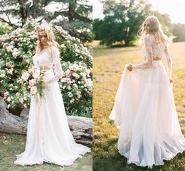 Wholesale Two Color Collar Shirt - Romantic Two Pieces Boho Beach Wedding Dresses With Lace Long Sleeves Chiffon High Neck A Line Bridal Sweep Train Custom Made Wedding Gowns
