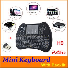 Wholesale Cheap Android Keyboard - 2.4GHz Wireless H9 H9+ Plus Fly Air Mouse Mini QWERTY Keyboard with Touch Pad Android TV Box Remote Control Gamepad Controller Cheap 30pcs