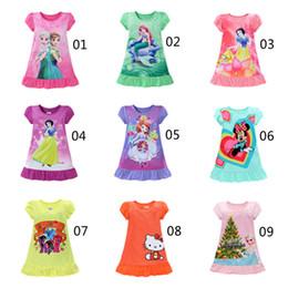 Wholesale Snow White Clothing Girls - Summer girls dresses Elsa Anna Mermaid Sofia Snow White Minnie kids pajamas polyester nightgowns sleepwear clothes 3~10T